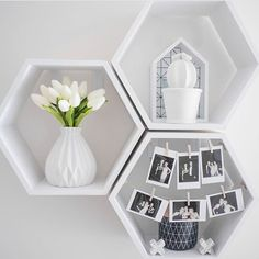 """I like the white """"shelves"""" matching the white walls & the vases. It creates a clean, minimalistic look. The photos display is also creative & I'll have to use it somewhere"""
