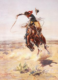 Title: A Bad Hoss, 1904 Artist: Charles Marion Russell Medium: Fine Art Paper Print Painting Prints, Art Prints, Canvas Art, Canvas Prints, Wood Canvas, Cowboy Art, Western Cowboy, Cowboy Pics, Cowboy Images