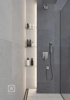 Návrh interiéru dvoupodlažního domu, kde jsou použity exkluzivní materiály s vysokou kvalitou. Interiéry jsou řešeny velkoryse, obzvláště hlavní denní prostor… Bathroom Inspiration, Bathroom Ideas, Toilet, Bathtub, Mirror, Architecture, Modern, Furniture, Design