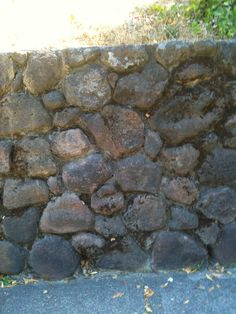 mortared fieldstone wall