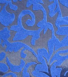 All That Glitters Fabric- Flourish Flocked Taffeta Cobalt