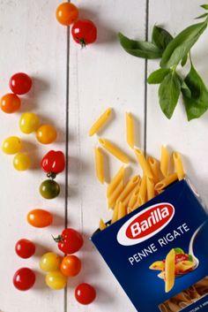 Tomaten, basilicum en Barilla pasta / www.eenlepeltjelekkers.be