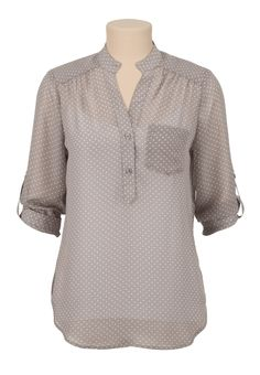 3/4 Sleeve Chiffon dot print blouse - maurices.com
