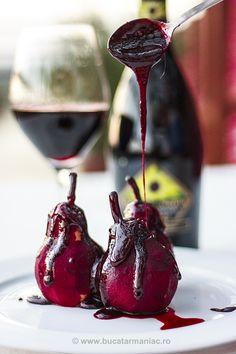 bucatar maniac: Pere in vin cu sos dulce Panna Cotta, Cherry, Fruit, Ethnic Recipes, Food, Eten, Dulce De Leche, Meals, Cherries