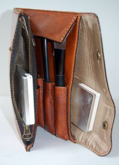 $94.00. Cognac Leather Make Up Case – Origami Leather