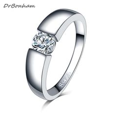 Slyq Jewelry Luxury Female Finger Ring5 Big Zircons Women sterling silver engagement ring