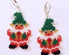 Browse unique items from LindaKBeaded on Etsy, a global marketplace of handmade, vintage and creative goods. Browse unique items from LindaKBeaded on Etsy, a global marketplace of handmade, vintage and creative goods. Christmas Ornaments To Make, Christmas Earrings, Christmas Sewing, Christmas Jewelry, Christmas Crafts, Xmas, Beaded Crafts, Beaded Ornaments, Bead Loom Patterns