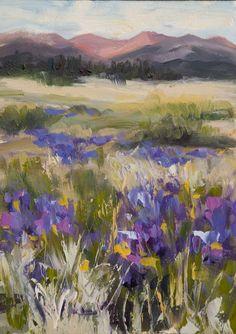 wildflower meadow paintings - blues, purples