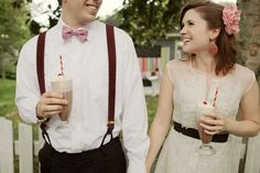 Aweee so cute for a wedding reception. A vintage inspired milkshake bar. Adorable!