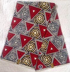 Tissu imprimé africain / Wax hollandais / Ankara - rouge & marron « Bénin guerrier » Design, vendu au mètre