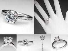 Ritani 1.5 Carat Diamond Engagement Ring w/ Accents in 18K White Gold - EraGem
