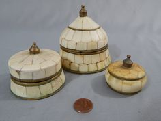 Set of Three Vintage Bone Boxes with Brass Inlay and Accents, India by SlyfieldandSime on Etsy
