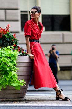 The Best Street Style at New York Fashion Week. ...and the red version