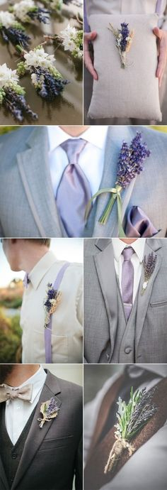 chic rusitc lavender wedding boutonnieres for guys |