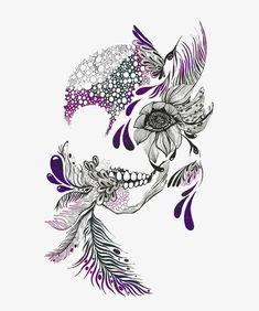 Tatto Skull, Tatoo Art, Body Art Tattoos, New Tattoos, Tatoos, Tattoo Feather, Tattoo Sugar Skulls, Girly Tattoos, Pretty Skull Tattoos
