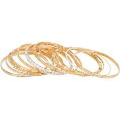 Heirloom Finds Rosy Gold White Enamel 13 Bangle Stack Bracelet Set Heirloom Finds. $19.99