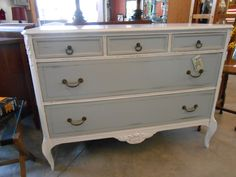 Beautiful 1930's-40's antique 3-drawer chest.  Painted in a 'silvermist' by Sherwin Williams with an off-white exterior.  Original hardware.  SOLD
