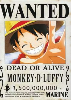 One piece, Luffy One Piece Anime, One Piece Ex, One Piece Chapter, One Piece Luffy, Anime One, Otaku Anime, Anime Naruto, Wanted One Piece, Hiei