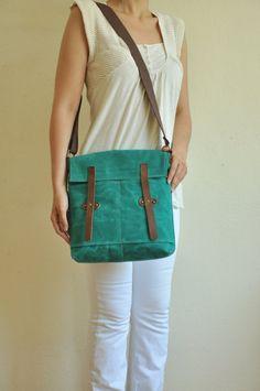 Waxed Canvas Bag Messenger Petroleum Green  tote leather accessories messenger bag handbag shoulder bag brown cotton straps canvas bag tote