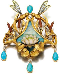 Marie Poutine's Jewels & Royals: Art Nouveau Brooches and Pendants A gold, turquoise, enamel and diamond pendant-brooch by G. Bijoux Art Nouveau, Art Nouveau Jewelry, Jewelry Art, Fine Jewelry, Jewelry Design, Flower Jewelry, Jewellery, Enamel Jewelry, Antique Jewelry