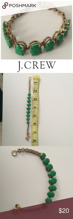 J. Crew bracelet with green stones Only worn a few times! Excellent condition J. Crew Jewelry Bracelets