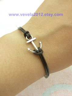 DIY Anchor bracelet  Leather/Cord and anchor charm.  I can make this at home!