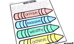 Vocabulary activity: Think about what color best describes each word's meaning. This activity gets students thinking critically about a word's meaning and its connection to their own lives. There are no right or wrong answers as long as the child can justify and explain his or her reasoning. Engaging vocabulary word play!