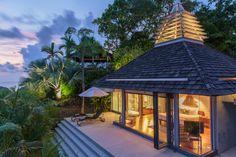 This incredible suite at Villa Benyasiri, Samsara Villas Phuket, walks about to a private terrace with a spectacular view.