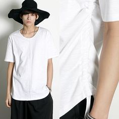 Remember Click Drawstring Adjusted T-Shirt BLACK WHITE ONE SIZE Korean Wear #RememberClick #BasicTee