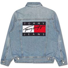 Tommy Hilfiger 90s Denim Jacket ❤ liked on Polyvore featuring outerwear,  jackets, blue jackets
