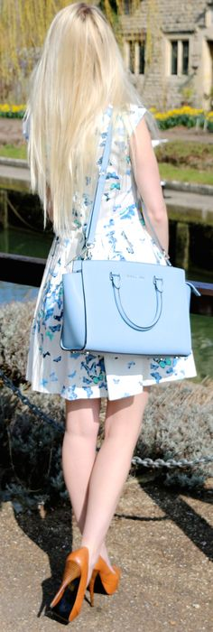 Pretty blue butterfly dress, selma michael kore bag and brown leather heels! Perfect style for the summer!