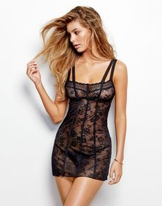 Love Haus Lingerie by Beach Bunny Swimwear: 'Impulse' black lace chemise teddy | Soft black lace chemise with black trim. Back features keyhole hook and eye closure and adjustable straps.