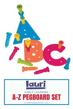 Lauri Tall-Stackers - Pegs A-Z Pegboard Set (Uppercase) Learning Letters, Learning Toys, Early Learning, Alphabetical Order, Letter Recognition, Letter Sounds, Classic Toys, Educational Toys, Gift Guide