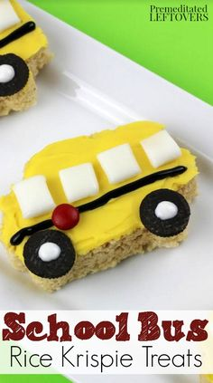 School Bus Rice Krispie Treats- These delightfully easy little school buses are the perfect treat for kids and teachers as they head back to school! School Bus Cake, School Treats, School Buses, Rice Krispy Treats Recipe, Rice Krispie Treats, Rice Krispies, Homemade Desserts, Delicious Desserts, Dessert Recipes