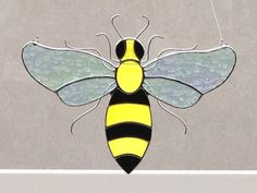 Stained Glass Bee Suncatcher by FoxStainedGlass on Etsy