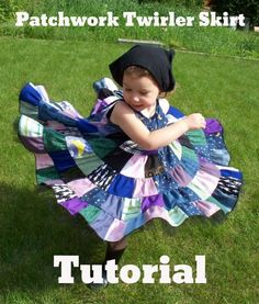 Patchwork Twirler Skirt/ dress Tutorial by . This is soooo adorable, think I may make the dress & skirt version for Sweet P Sewing Kids Clothes, Sewing For Kids, Baby Sewing, Free Sewing, Sewing Hacks, Sewing Tutorials, Sewing Crafts, Circle Skirt Tutorial, Skirt Patterns Sewing
