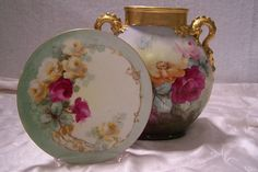 Victorian Limoges France Plate featuring 'Naturalistic Multi-Colored Roses ' w/ gold Rococo Curves & Scrolls