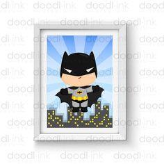SALE 50%!!! Cute Batman Wall Art Print/ Superhero Poster / Baby and Kids Nursery Room Decor Digital Print / INSTANT DOWNLOAD