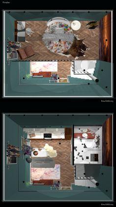 Interior design for studio apartment via 3D-Max Design. Made by Riina Kittilä