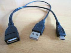 Micro USB B male Host OTG Adapter to Usb type A female cable + A Usb male power
