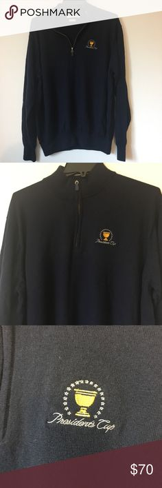 "Peter Millar 1/4 Zip Merino Wool Sweater Peter Millar Knit Merino Wool 1/4 Zip Pullover Sweater Men XXL Presidents Cup. Excellent condition. No rips stains or tears. pit-pit : 25"" across, sleeve length : 25"", length : 27"". Pl feel free to message me with questions. Peter Millar Sweaters Zip Up"