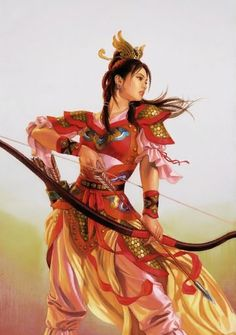 Nagano Tsuyoshi, Romance of the Three Kingdoms' Sun Shangxian, tomboyish sister of Sun Quan, leader of the southern kingdom of Wu. Fantasy Inspiration, Character Inspiration, Character Art, Character Design, Warrior Girl, Fantasy Warrior, Goddess Warrior, Fantasy Art Women, Fantasy Girl