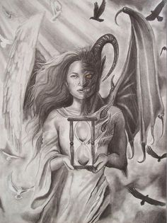 Angel drawing - angels and demons by amber stanford Demon Drawings, Tattoo Drawings, Pencil Drawings, Art Drawings, Evil Angel, Angel And Devil, Ange Demon, Demon Art, Vs Angels