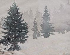 ✨ Paul Leschhorn (1876-1951) - Tannen im Nebel, Farb-Holzschnitt, rechts unten signiert, links unten betitelt ::: Firs in Fog, Colour Woodcut