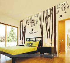 Thick Forest Tree and Birds Wall Sticker by amandabetty