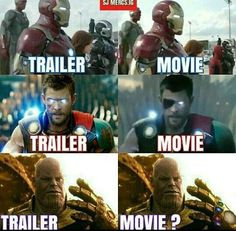 Geek Discover Trailers have betrayed us! Funny Marvel Memes, Marvel Jokes, Avengers Memes, Marvel Dc Comics, Marvel Heroes, Marvel Avengers, Superhero Memes, Best Superhero, Marvel Trailers