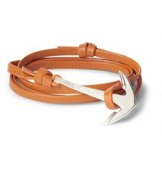 Miansai Leather And Metal Anchor Wrap Bracelet   MR PORTER