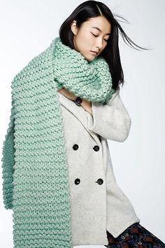 3Clothing:  RP @blazingneed0047: Knit this simple garter-stitch scarf. Something Like Tundra or Malabrigo Chunky/Rasta would be perfect! | Revelry Hacks #DIY #preservetheart