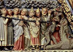 Das Freiburger Münster und die Macht der Bilder, c. 1275-1300                                                                                                                                                                                 Mehr Statues, Renaissance Clothing, Medieval Art, 14th Century, Kirchen, Narnia, Stone Painting, Sculpture Art, Color Blocking