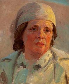 Laurits Tuxen - Artist's wife, Frederikke Tuxen, dressed in white (1910)